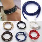 Fashion Handmade Wristband Wrap Cuff Unisex Women Men Braided Leather Bracelet image