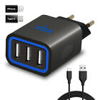 Fast EU European Twin Triple USB Port Wall Charger with iPhone / Type C Adapter