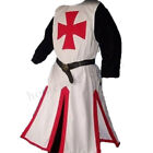 Men Retro Medieval Templar Knight Top Dress Shirts Surcoat Tunic Cosplay Costume