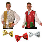 SEQUINED CHRISTMAS WAISTCOAT WITH BELLS GOLD/SILVER OR RED/GREEN