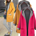 Winter Warm Women Wool Hooded Long Coat Cardigan Trench Jacket Overcoat Outwear