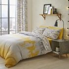 Catherine Lansfield Cityscape Duvet Quilt Cover Set/Eyelet Curtains-Ochre Yellow image