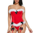UK Mrs Claus Corset Outfit Sexy Women Santa Bustier For Christmas Lingeries HOT