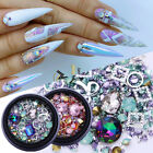Nail Rhinestone AB Color Flat Back Mix Sized 3D Nail Decoration  Design