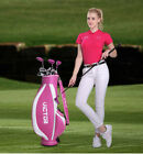PGM Womens Right Handed Complete Golf Club Set with Cart Bag, pink stand bag