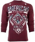 AMERICAN FIGHTER Mens LONG SLEEVE T-Shirt LANDER Athletic BURGUNDY CAMO Gym $54 image
