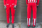 Men's Troop Red | White Velour Fashion Track Pants