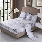 Gray Marble Sheet Set Bed Sheets Fitted Sheet Flat Sheet Pillowcase image