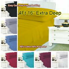 """4Ft 16"""" Extra Deep Small Double Bed Fitted Sheet Polycotton Plain Dyed 122x200cm image"""