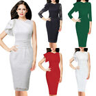 Women Elegant Ruffle Ruched Lace Solid Slim Evening Cocktail Party Bodycon Dress