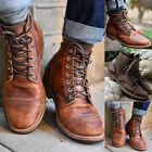 Men's Retro Martin Ankle Boots Leather Combat Lace Up Military Army Biker Shoes