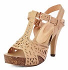 LADIES TAN STRAPPY GLADIATOR HIGH-HEEL T-BAR PEEP-TOE SANDALS SHOES SIZES 2-7