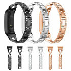 Replacement For Fitbit charge 3 Wristband Watch Bracelet Bling Metal Wrist Band image