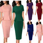 Womens Pleated Crew Neck Peplum Work Business Office Casual Party Sheath Dress