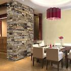Retro 3D Effect Wallpaper Natural Embossed Stack Stone Brick Wall Paper Roll US