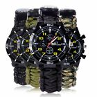 Outdoor Survival Watch Bracelet With Flint Paracord Thermometer Whistle Compass