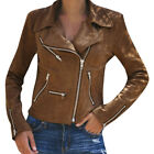 UK Womens Leather Jacket Coats Zip Up Biker Casual Flight Tops Outwear Coat AP