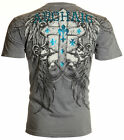 ARCHAIC by AFFLICTION Men T-Shirt ARMY ANT Cross Wings GREY Tattoo Biker $40 image