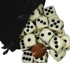 Selection of 16mm Dice Opaque Ivory-Tone Round Cornered with Velvet Pouch Sets