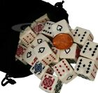 Selection of 16mm Poker Dice Opaque Ivory-Tone Square Cornered with Velvet Pouch