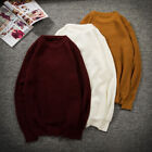 Spring New Mens Knitted Crew Neck Sweater Long Sleeve Loose Casual Soft Knitwear