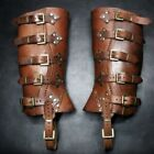 Men's Deluxe Leather Military Gaiters Steampunk Brown Black Leather Gaiters