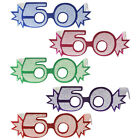 50TH BIRTHDAY AGE GLITTERED FOIL SPECTACLES, 5 COLOURS, PARTY GLASSES