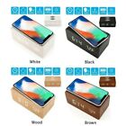 Fashion Wooden Wood Digital LED Desk Alarm Clock Thermometer Qi Wireless Charger