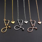 1pc Doctor Nurse Medical Student Gift Jewelry Stethoscope Heart Pendant Necklace