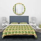 Designart 'Pineapple Heads with Geometrical Body' Food & Beverage Bedding Set - image