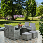 Deluxe 9 Piece 8 Seater Rattan Cube Dining Table Garden Furniture Patio Set