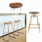 2x Copper Industrial Metal Vintage Wood Bar Stools Chairs
