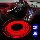 Red 2M/3M 12V LED Car Auto Interior Decor Atmosphere Wire  Cold Strip Light Lamp