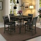 5pcs Counter Height Dining Sets Home Square Dining Table W/4 Chairs Bar Set