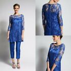 Royal Blue Mother Of the Bride Pant Suits Long Sleeves Lace Satin Formal Gown