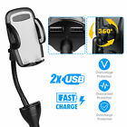 Dual USB Fast Car Charger Holder Cell Phone Mount Stand With Cigarette Lighter
