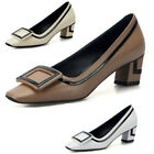 NEW Retro Womens Slip on Block heels Court OL Shoes Leather Casual Chunky Pumps