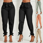 Women High Waist Ruffle Bow Tie Pants Solid Casual Work Tie Bottom Trousers GIFT