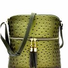 Ostrich PU Leather Embossed Tassel Accent Zipper Pocket Large Crossbody Bag