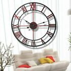 Vintage Large 3D Wall Clocks Roman Numerals Round Wrought Iron Clock Home Decor