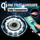Fully Transparent 10W Qi Wireless Fast Charger Phone Charging Pad Mat +LED