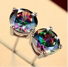 6mm Silver Square Round Mystic Fire Rainbow Topaz Princess CZ Stud Earrings PE22