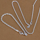 Woman 925 Silver Plated 4mm Twisted Rope Chain 16-24inch Neckalce Jewelry