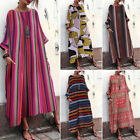 ZANZEA Women Batwing Stripe Long Shirt Dress Full Length Maxi Dress Baggy Dress