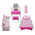 Fashion Pink Bed Dressing Table&Chair Set For Barbies Dolls Bedroom Furniture D9