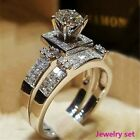 Exquisite Plated 925 Silver Zircon Ladies Ring Set Jewelry Size 5 6 7 8 9 10 11