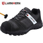 LARNMERN Men Steel Toe Shoes Leather and Mesh Work Safety Shoes Hiking Boots