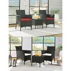 3pcs Rattan Garden Chairs And Coffee Table Outdoor Furniture Patio Conservatory