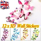 12pcs 3d Decal Colourful Butterflies Wall Stickers Diy Home Decor