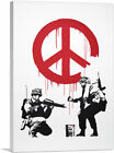ARTCANVAS Soldiers Painting Peace Sign Canvas Art Print by Banksy